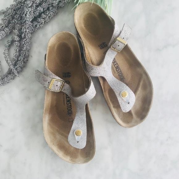 1fe8832d25e1 Birkenstock Shoes - Birkenstock Gizeh Washed Metallic Blue Silver 40
